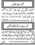 Teachers & Hotels wanted Multan