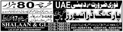 UAE & Abu Dubai wanted Staff