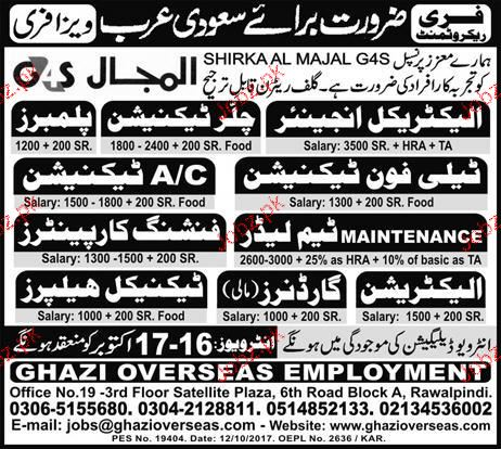 Electrical Engineers, Chiller Technicians Job Opportunity