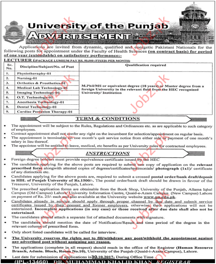 University of Punjab Situations Vacant