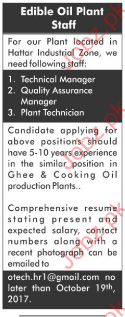 Technical Manager & Plant Technician Career Opportunity