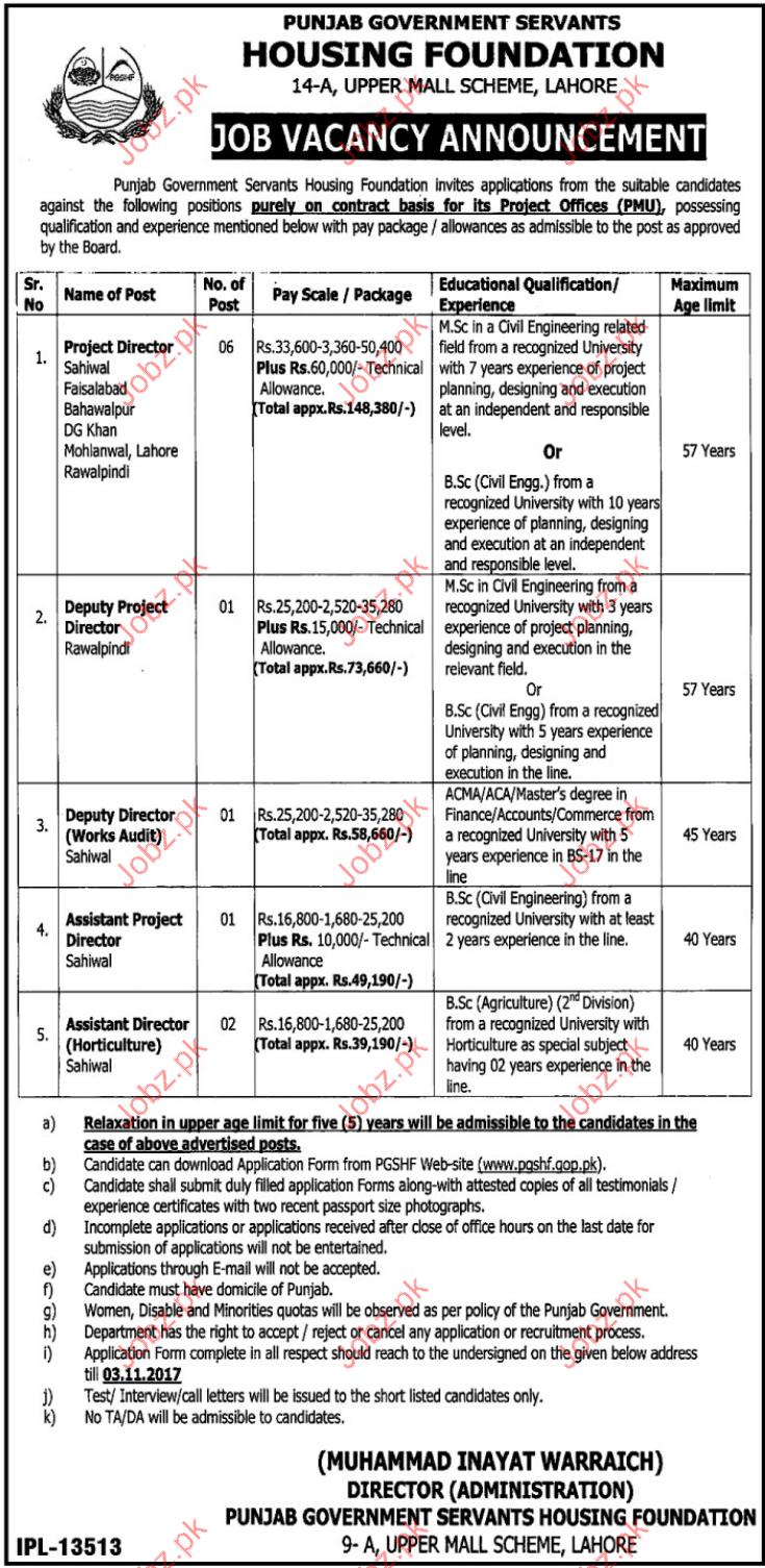 Punjab Govt Servants Housing Foundation Required Director