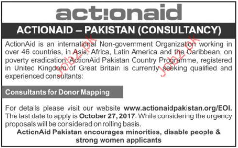 Actionaid Pakistan Company Required Consultant Donor Maping
