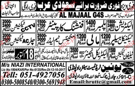 Electricians, Plumbers, Finishing Carpenter Job Opportunity