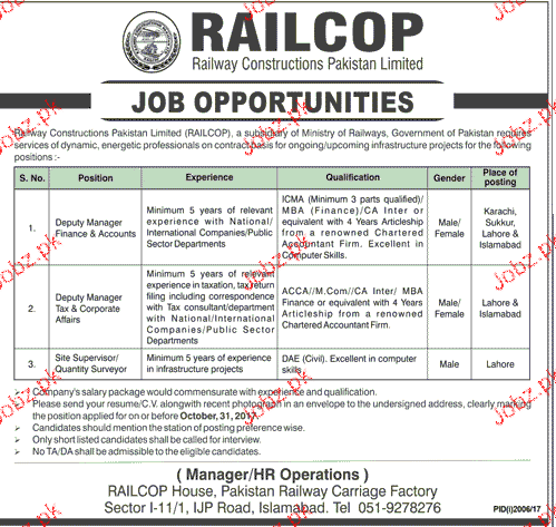 Pakistan Railway Carriage Factory Jobs