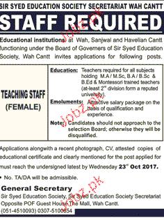 Sir Syed Education Society Secretariat Jobs 2019 Job