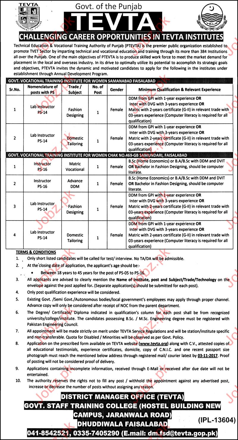 TEVTA Government of Punjab Jobs Opportunity