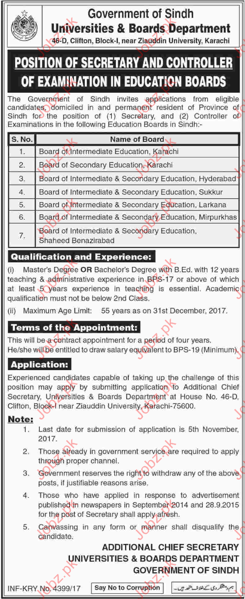 Universities & Boards Department Govt of Sindh Jobs BISE