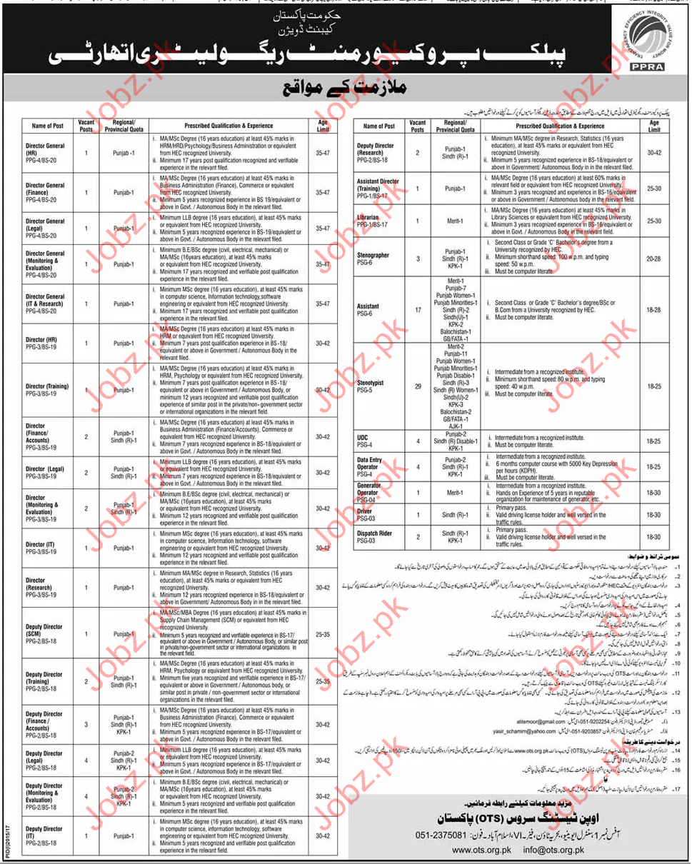 PPRA Public procurement Regulatory Authority Jobs 2017