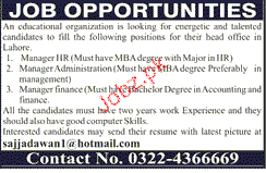 Manager HR, Manager Administration Job Opportunity