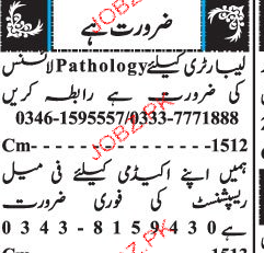 Pathologists and Female Receptionists Job Opportunity