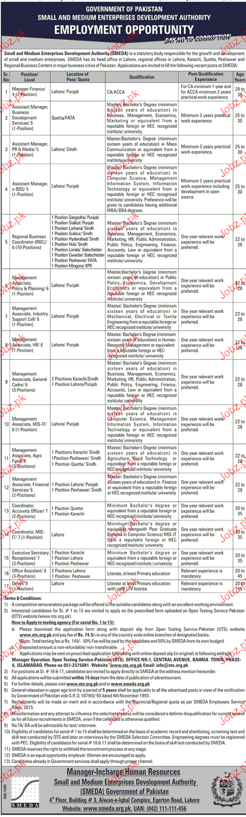 Small and Medium Enterprises Development Authority OTS Jobs