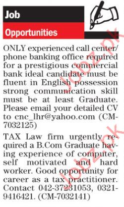 Call Center & Tax Law Firm Jobs Opportunity