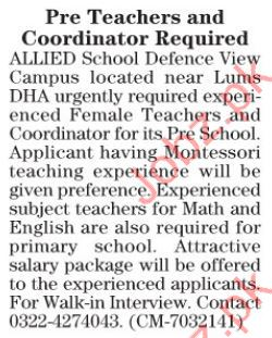 Pre Teachers and Coordinator Required in Lahore 2017