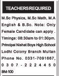 Female Teachers Jobs Multan 2017