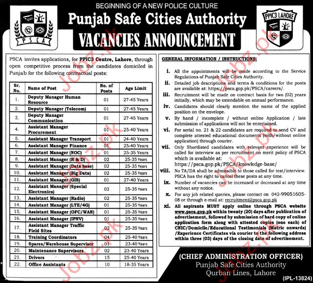 PSCA Jobs Punjab Safe City Authority 2017