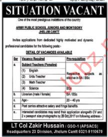 APS Jobs Army Public School Jhelum 2017