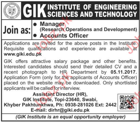 GIK Institute Jobs of Engineering Sciences & Technology 2017