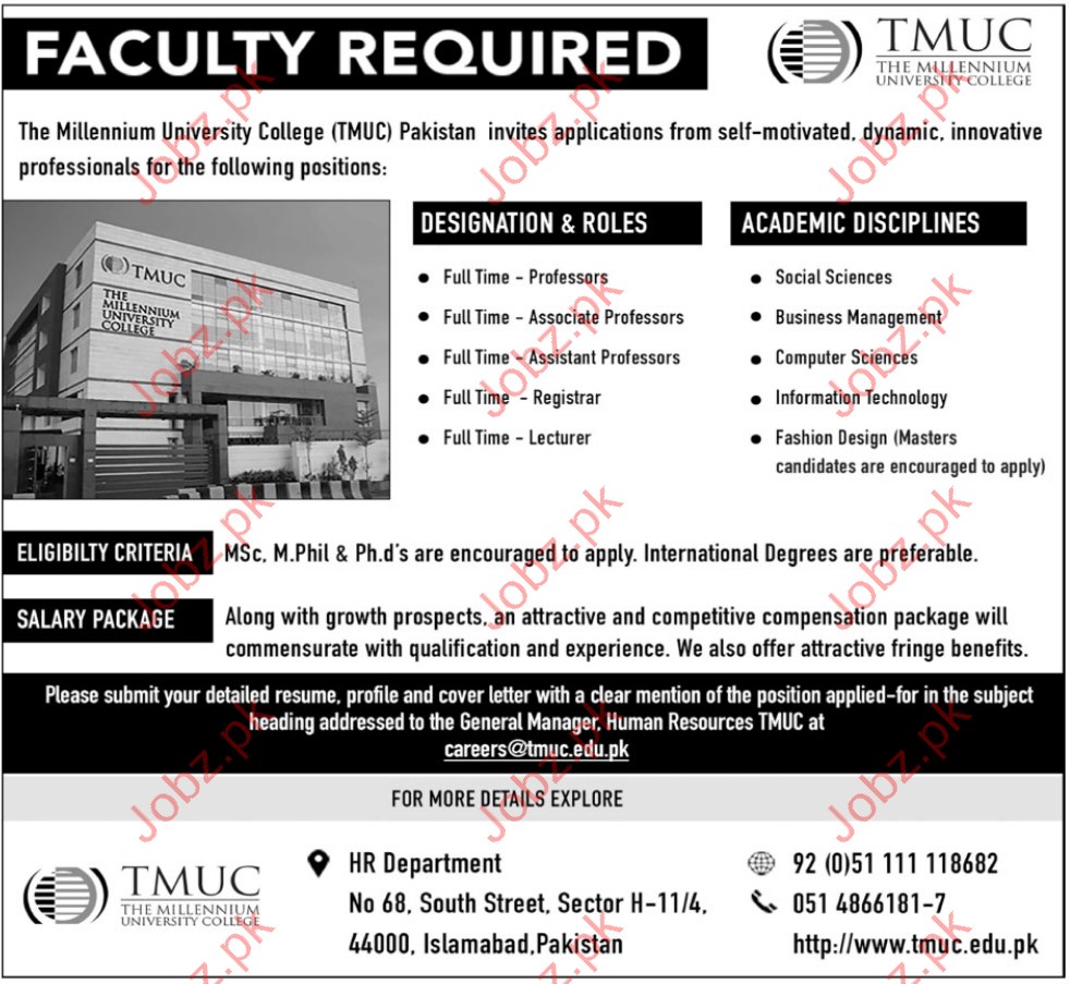 tmuc islamabad jobs millennium university college 2017