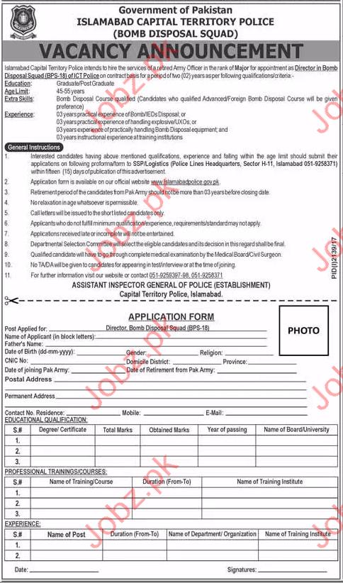 ICTP Jobs 2017 Islamabad Capital Territory Police
