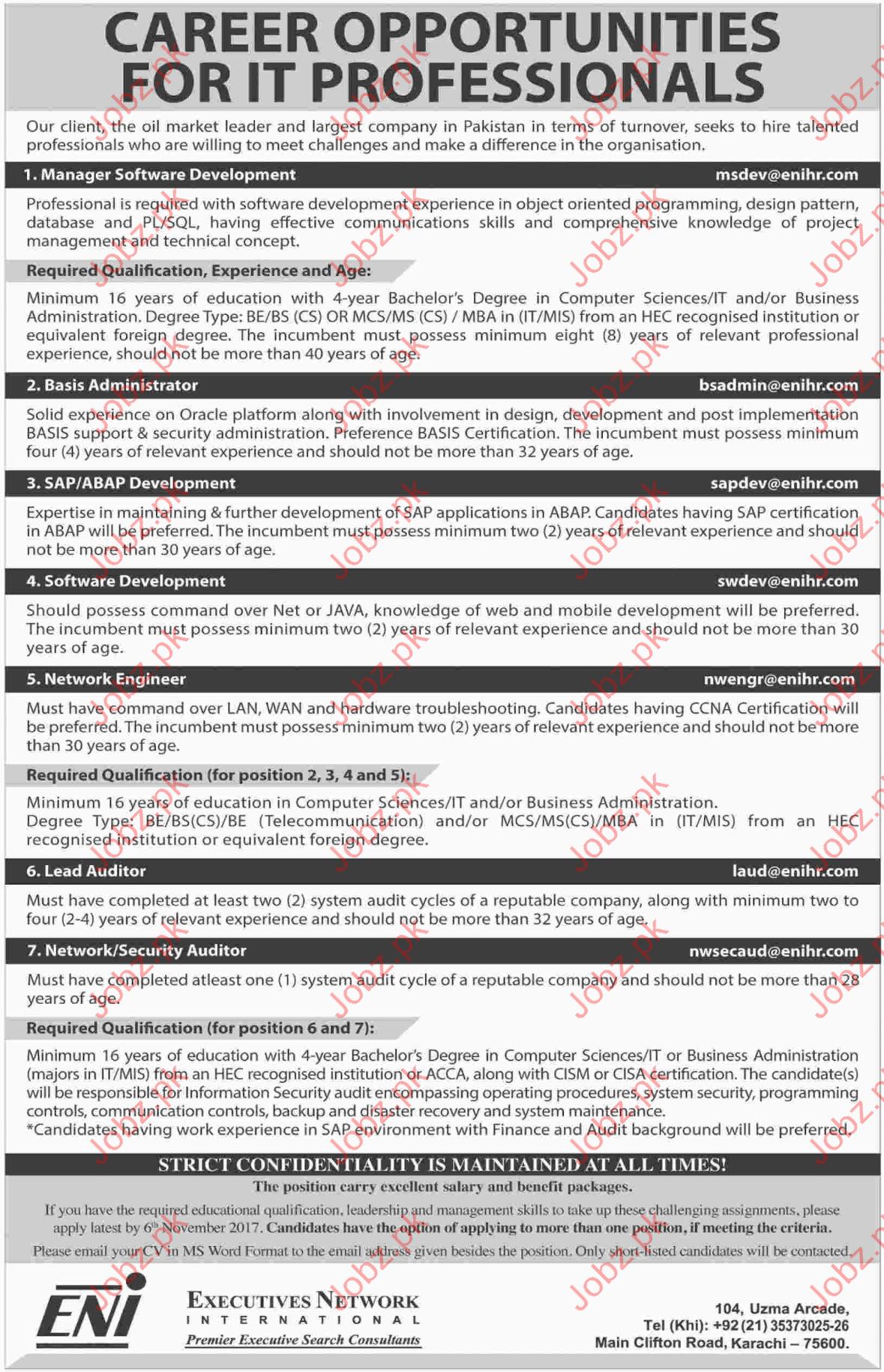 ENI Pakistan Jobs Executives Network International