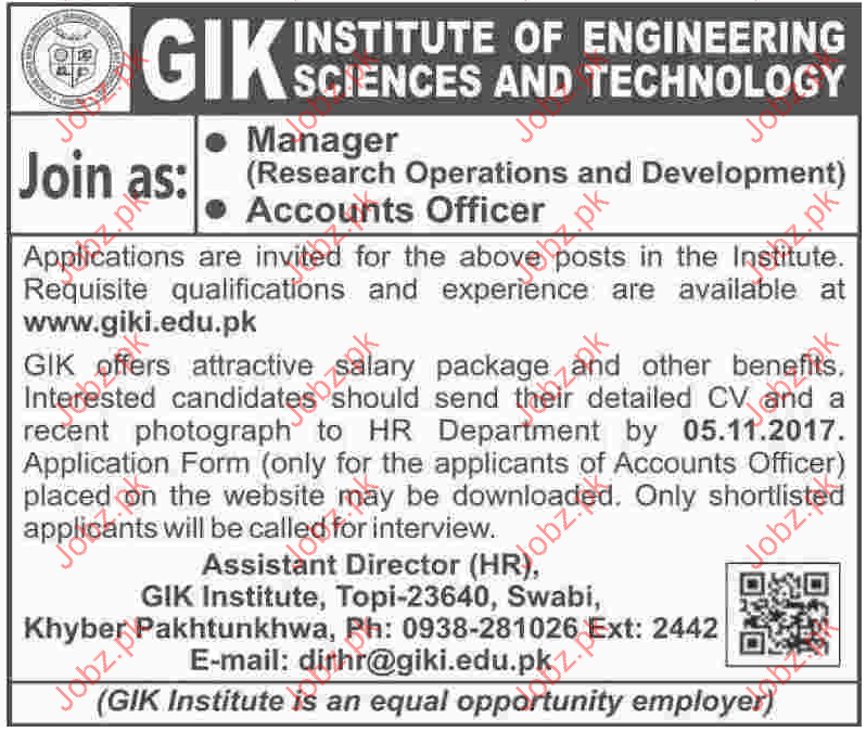 GIK Institute of Engineering Job Opportunity