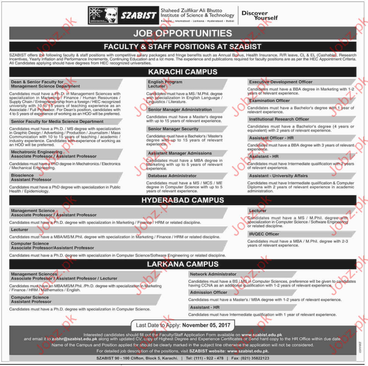 SZABIST Jobs Institute of Science & Technology