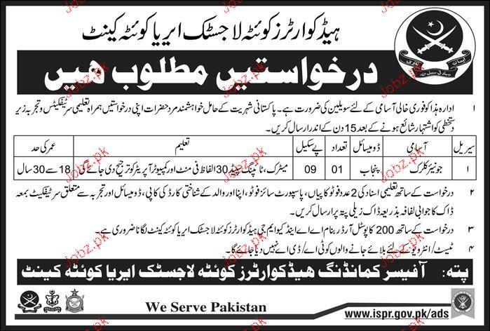 Headquarter Logistics Area Quetta Cant Jobs