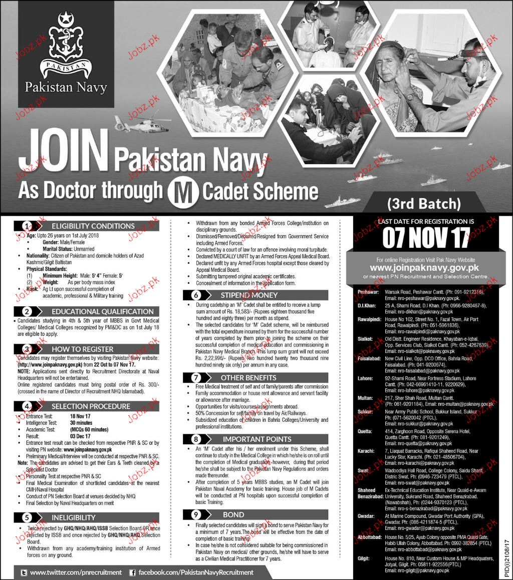 Join Pakistan Navy As Doctor Through M Cadet Scheme