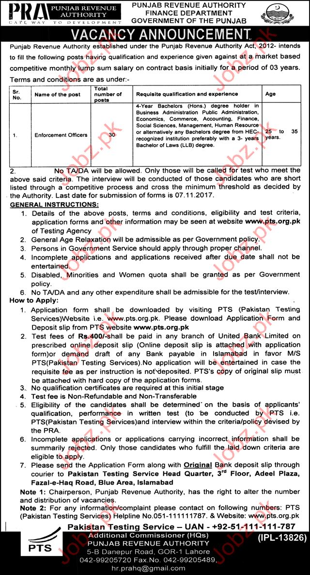 PRA Jobs Punjab Revenue Authority 2017