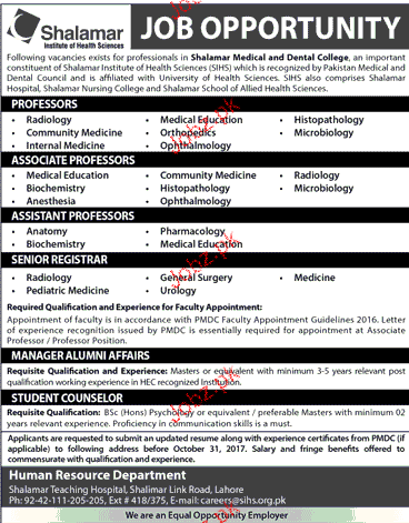 Shalamar Institute of Health Sciences Jobs