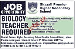 Biology Teachers Job Opportunity