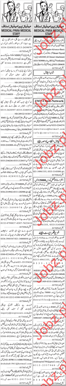 Career Opportunity Medical & Para Medical Staff wanted