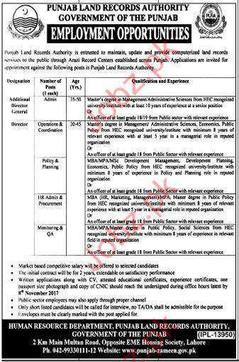 PLRA Jobs Punjab Land Record Authority 2017