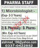 Microbiologists and Pharmacists Job Opportunity