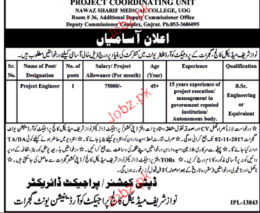 Nawaz Sharif Medical College Jobs