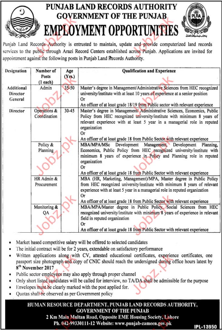 Pakistan Land Records Authority PLRA Jobs 2017