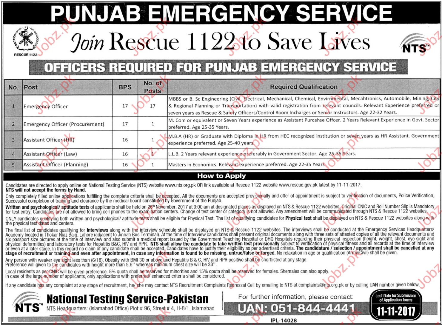 Join Punjab Emergency Service Rescue 1122 Via NTS