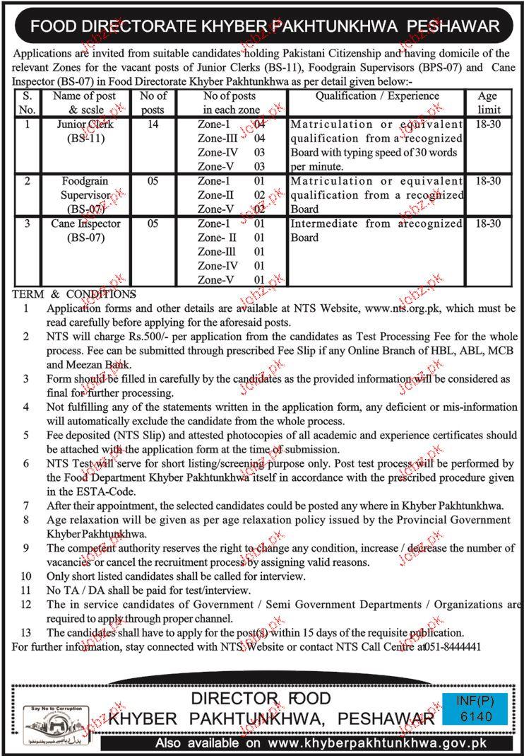 Food Directorate Khyber Pakhtunkhawa Peshawar NTS  Jobs