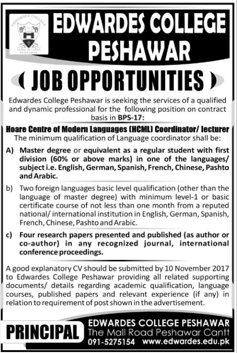 Edwardes College Jobs Peshawar ECP 2017