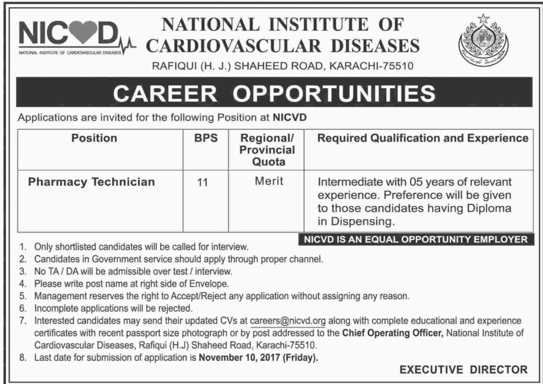 NICVD Jobs National Institute of Cardiovascular Diseases