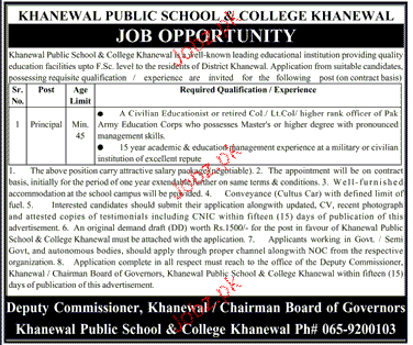 khanewal Public School and College Khanewal Jobs
