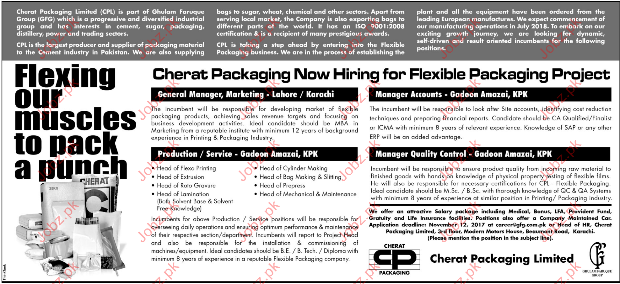 Cherat Packaging Jobs CPL 2017