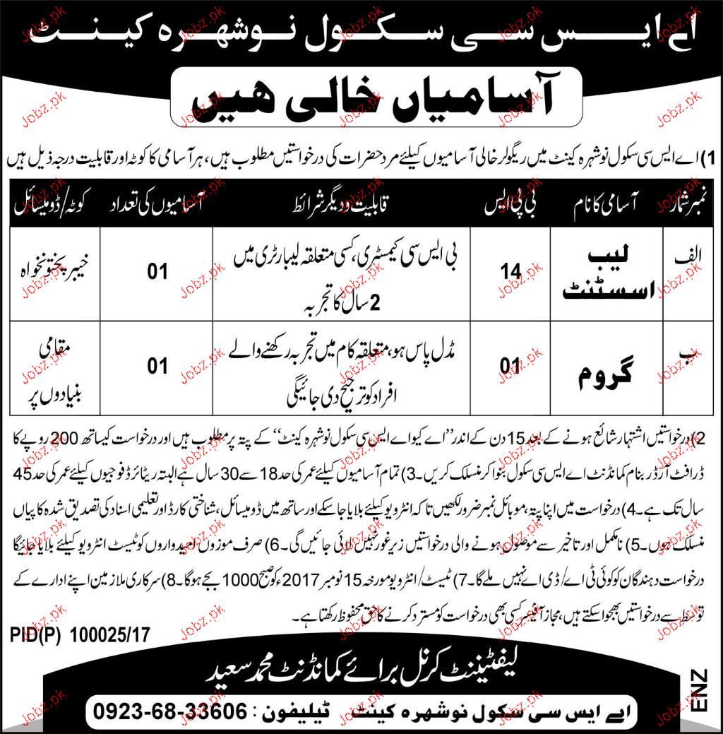 ASC School Nowshera Cant Jobs