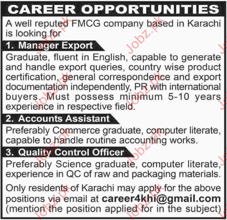 Career Opportunity FMCG Company Karachi