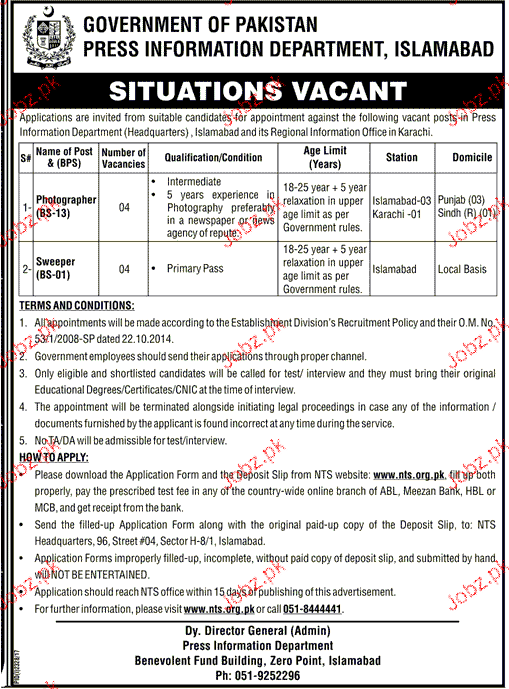 Press Information Department Government of Pakistan NTS Jobs