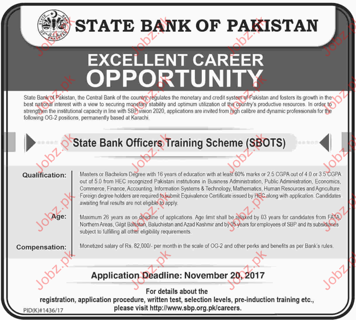 State Bank of Pakistan Career Opportunities