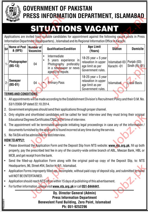 Press Information Department PID Jobs 2017 NTS