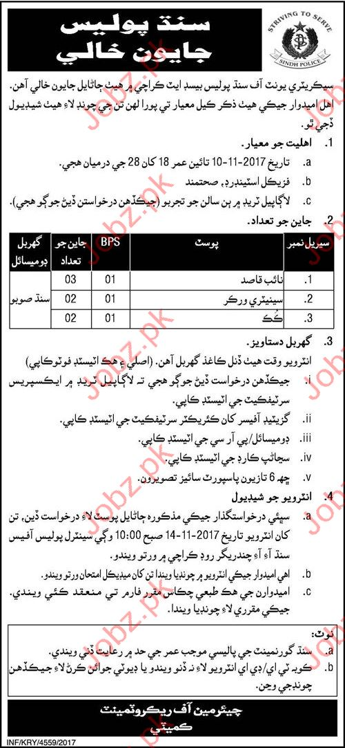 Sindh Police Labor Jobs