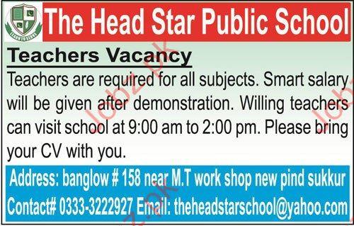 Teachers Jobs in Sukkur 2017